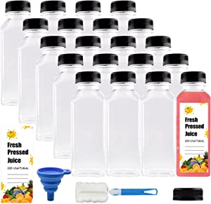[20 Pack] 12 Oz Empty Plastic Juice Bottles with caps,Clear Reusable Containers with Lids for Juice, Milk and Other Beverages