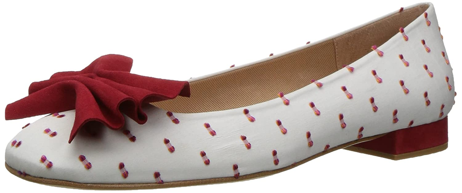 French Sole FS/NY Women's Wiggle Ballet Flat B01N6QDG5L 7 B(M) US|White/Red