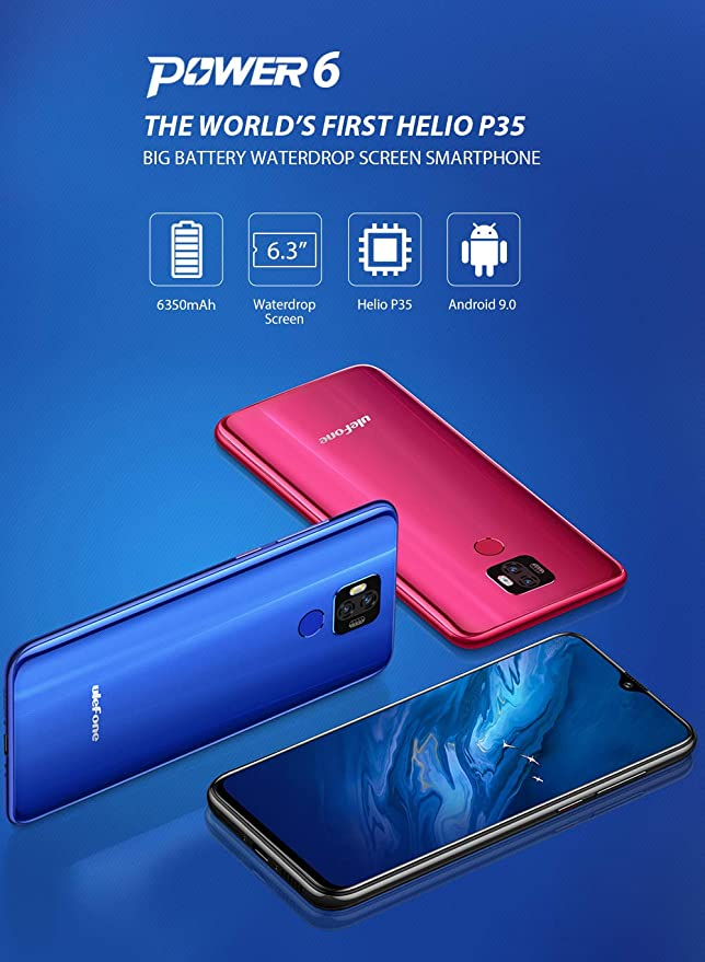 Ulefone Power 6 4G Smartphones Libres, Android 9.0 6.3