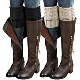 Loritta 2 Pairs Womens Boot Cuffs Winter Short Cable Knit Leg Warmers Boot Socks Gifts