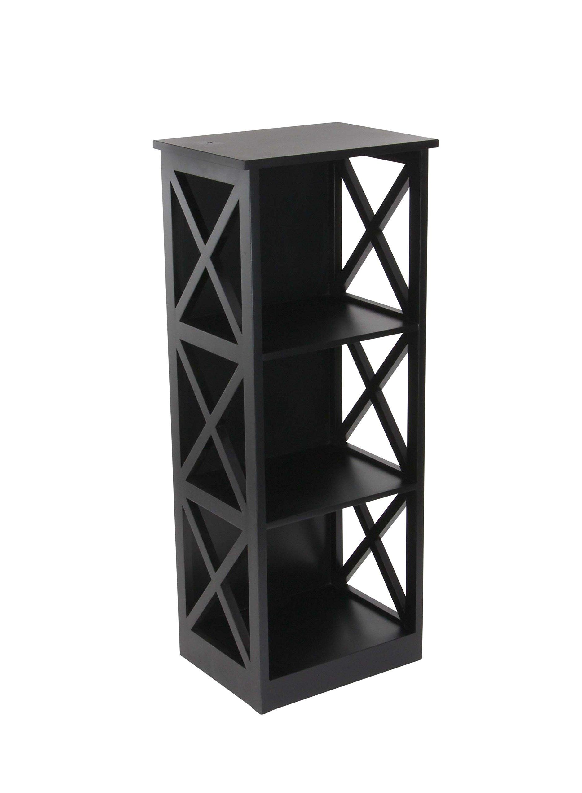 Deco 79 62683 Rectangular Wooden 3-Tiered Shelf, Black