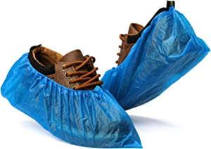 Fuxury Shoe Covers Disposable 100 Pack(50 Pairs) Disposable Shoe Boot Covers Waterproof Non Slip Shoes Protectors Covers Durable Boot&Shoes Covers,One Size Fits All,Blue