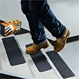 "ThreadNanny Premium Quality 6"" x 24"" Stair Treads Non Slip Outdoor Tape Grip 5 Pieces Black Anti Slip Strips Strong Adhesive"
