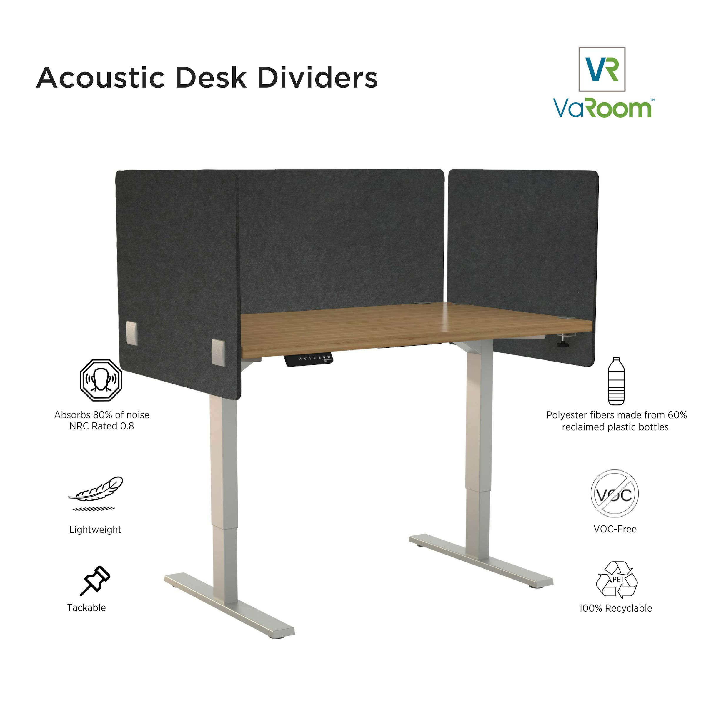 """VaRoom Acoustic Partition, Sound Absorbing Desk Divider – 24"""" W x 24""""H Privacy Desk Mounted Cubicle Panel, Charcoal Grey by VaRoom (Image #4)"""