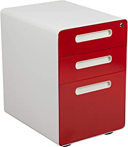 Flash Furniture Ergonomic 3-Drawer Mobile Locking Filing Cabinet with Anti-Tilt Mechanism & Letter/Legal Drawer, White with Red Faceplate