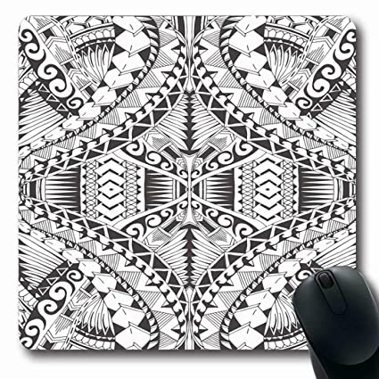 cb3df2c6b Ahawoso Mousepads Art Tattoo Samoa Maori Abstract Polynesian Pattern Lines  Tribal African Ancient Design Oblong Shape
