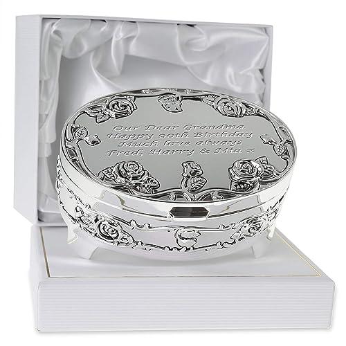 De Walden Girls 90th Birthday Gift Silver Plated Rose Trinket Box In A Presentation Nan