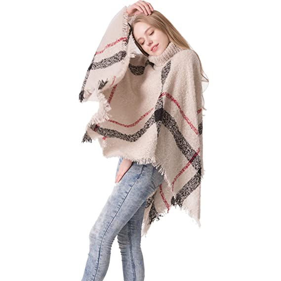 b70fa4a779767e Women's Winter Sweater Knitted Tassel Poncho Batwing Plaid Jumper Loose  High Neck Pullover Turtleneck Wrap Cape