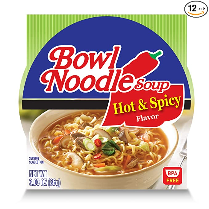 Amazon Com Nongshim Bowl Noodle Soup Hot Spicy 3 03 Ounce Pack Of 12 Packaged Asian Dishes Grocery Gourmet Food