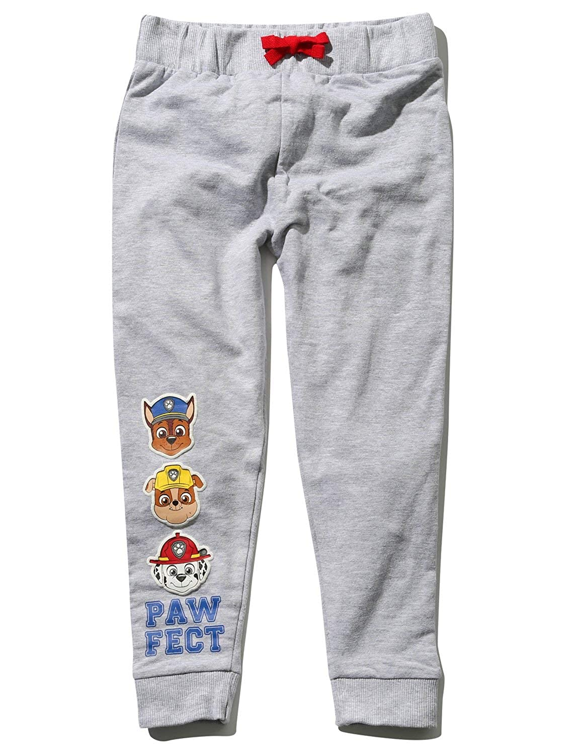 Paw Patrol Boys Grey Marl Full Length Cotton Rich Character Print Stretch Waist Cuffed Joggers M&Co