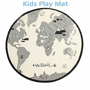 Amazon ukeler world map kids rug baby round carpet playing mat ukeler world map kids rug baby round carpet playing mat crawling rug cushion home decor gumiabroncs Gallery