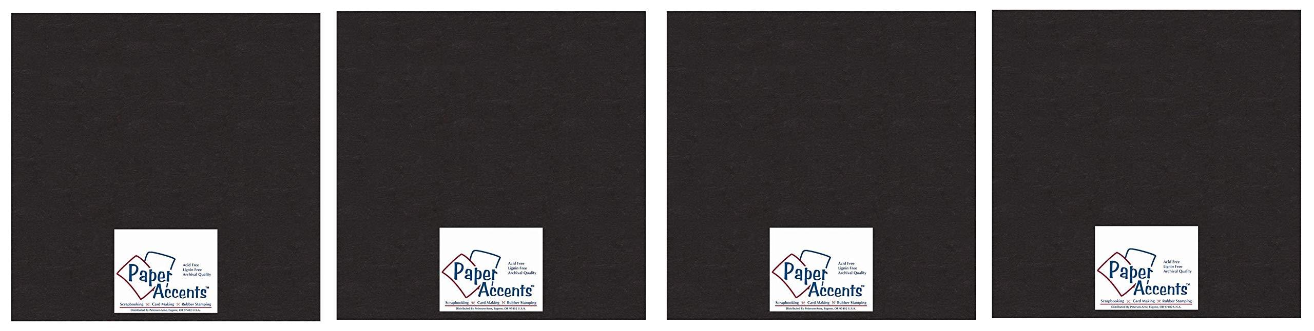 Accent Design Paper Accents Chpbrd Chipboard 12x12 1X Heavy 50pt Black, 25 Piece (Fоur Paсk)