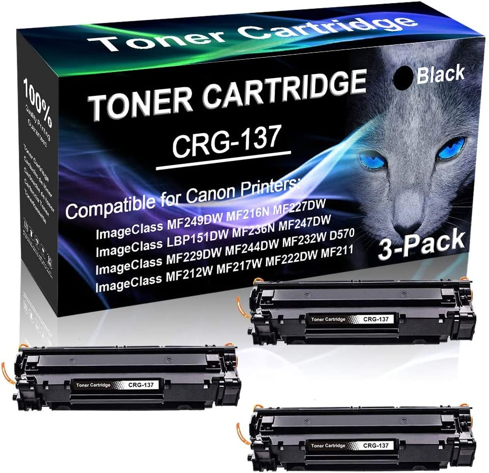 Black Compatible ImageClass MF222DW MF211 MF232W D570 Printer Cartridge Replacement for Canon CRG-137 Cartridge 137 Toner Cartridge 3-Pack Print True-to-Life Photos