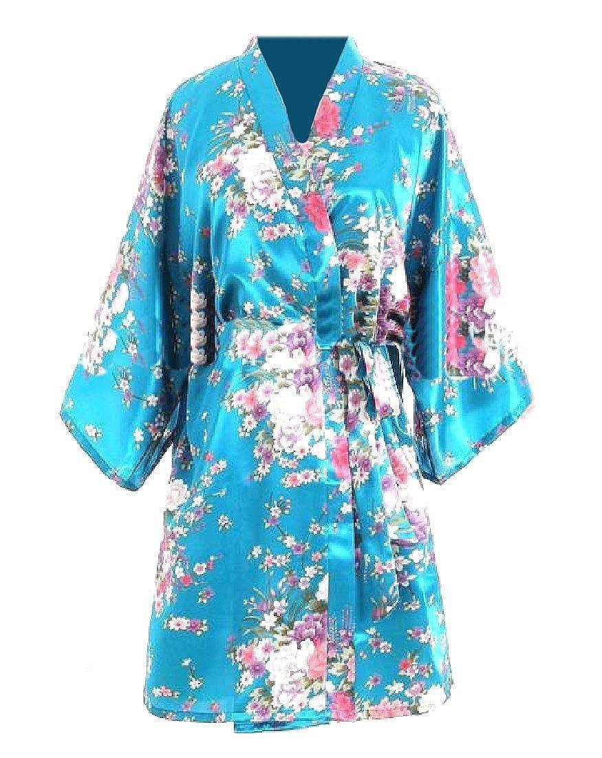 Freely Womens Floral Printed Bathrobe Charmeuse Sleepwear with Belt