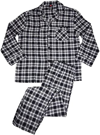 Amazon.com: Hanes - Mens Tall Plaid Flannel Pajamas, Black, Grey ...