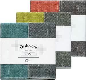Nawrap Binchotan Charcoal Dishcloths, Naturally Anti-Odor, Set of 3, Turquoise Coral & Citrus
