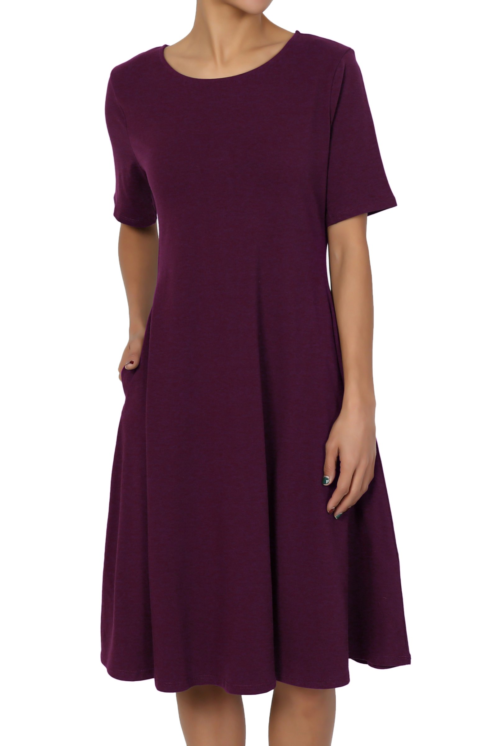 TheMogan Women's Short Sleeve Pocket Stretch Cotton Fit & Flare Dress Dark Plum 2XL