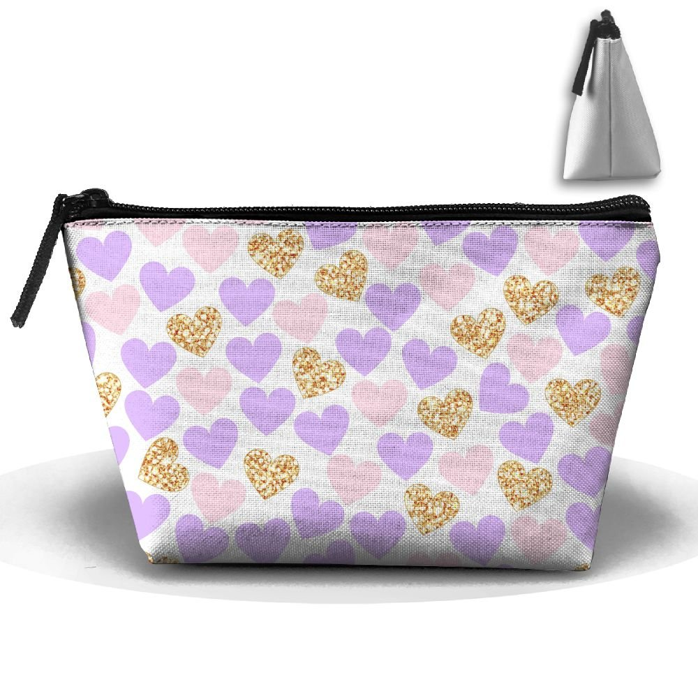 Trapezoidal Cosmetic Bags Makeup Toiletry Pouch Purple Gold Heart Travel Bag Phone Purse Pencil Holder