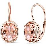 Gem Stone King 4.00 Ct Oval Peach Nano Morganite 18K Rose Gold Plated Silver Earrings
