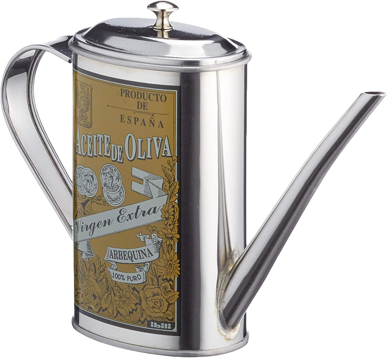 Silver Ibili  705105 stainless steel Olive Oil can Arbequina