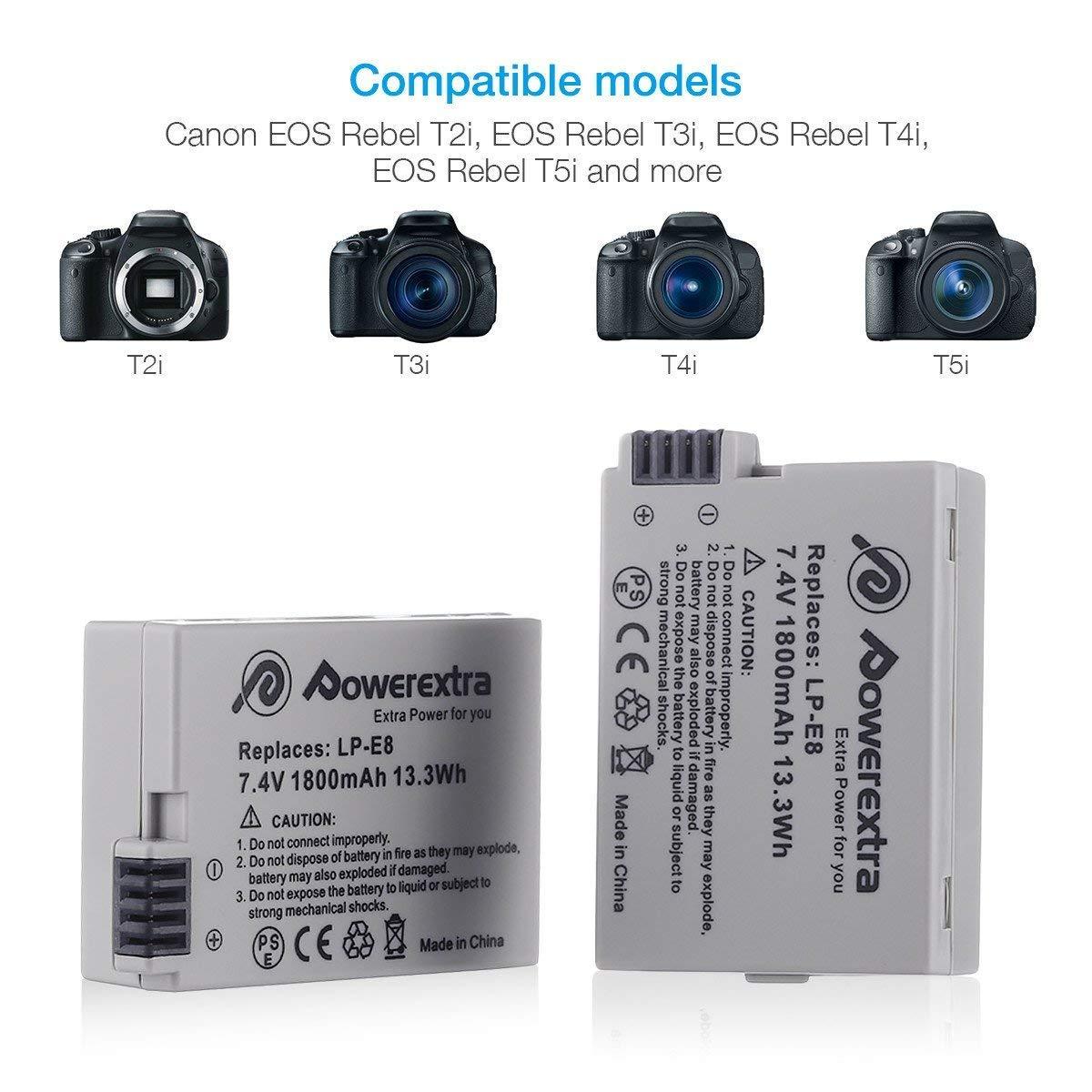 T2i T4i 700D 650D Powerextra Lot de 2 batteries de rechange compatible Canon/LP-E8 pour Canon Rebel T3i LC-E8E 7,4/V 1/800/mAh T5i Kiss X6 Kiss X5 EOS 600D 550D X4