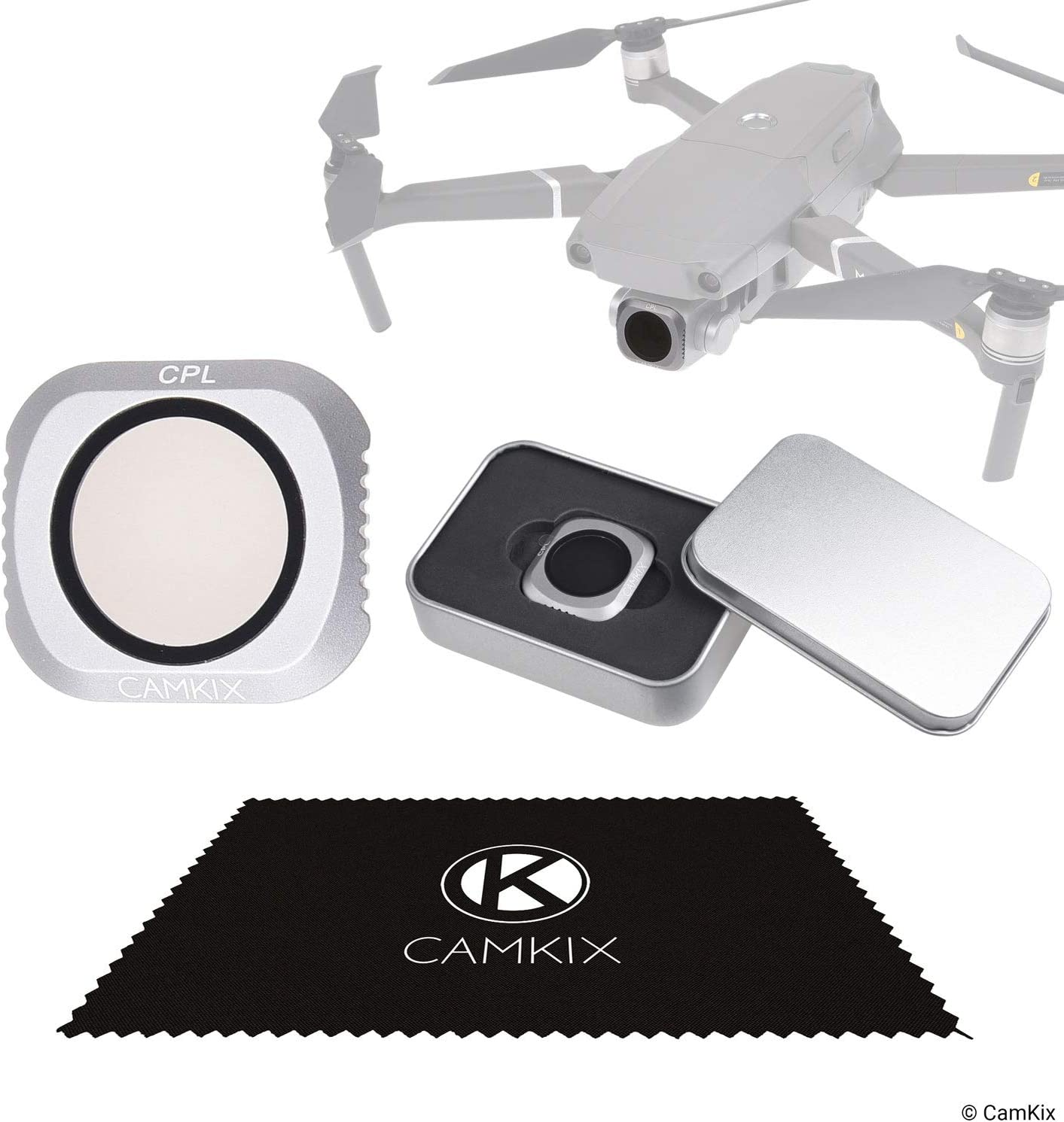Prevents Reflections in Water//Glass Deeper Color Tones CamKix PL Filter Compatible with DJI Mavic Pro//Platinum a Filter Storage Container and a CamKix Cleaning Cloth PL Polarizing Filter