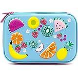 Astuccio portapenne per bambini, con decorazioni colorate in rilievo, parte superiore rigida e più scomparti Light Blue