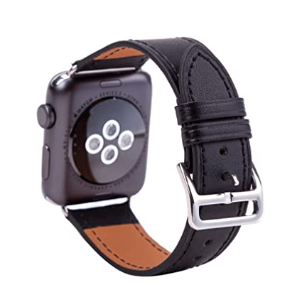 YCYCSY Compatible for Apple Watch Band 38mm 42mm,YCYCSY Top Grain Genuine Leather Replacement Band,Smart Watch Wristband Compatible for Apple Watch ...