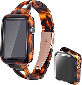 Omter Resin Band with Case Compatible Apple Watch Band 38mm 40mm 42mm 44mm Women iwatch Series 6 SE 5 4 3 2 1 Accessories Metal Buckle Wristband X-Link Sport Strap (Tortoise-Tone, 38mm)