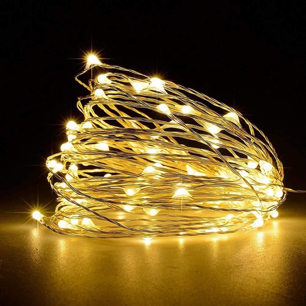 LKY LED decorativi impermeabili 16ft USB filo di rame alimentato Starry Fairy String Lights Luci a LED corda per camera da letto Patio Garden Natale Outdoor Party Wedding Lamping Warm White
