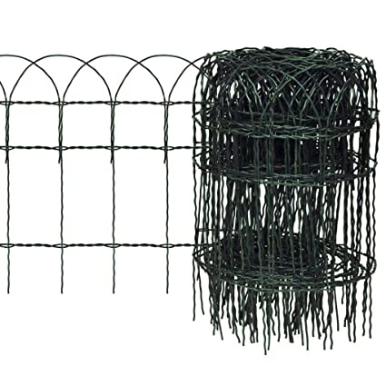 10m x 0 4m Decorative Hoop Top Garden Border Fence - Strong Green PVC  Coated Wire Fencing for Boundaries and Edging Flower Beds