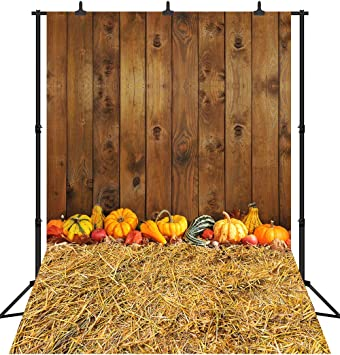 8x8FT Vinyl Photography Backdrop,Harvest,Thanksgiving Pumkins Photo Background for Photo Booth Studio Props
