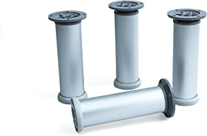 Emuca 2034463 Set of 4 adjustable legs for furniture/wardrobe/sofa Ø40x160mm satin aluminium