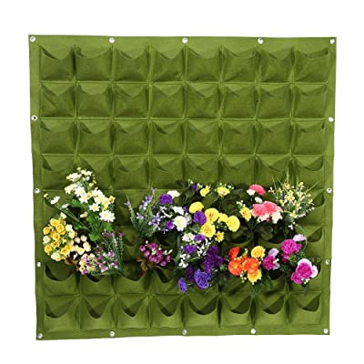 Rehomy Vertical Wall Hanging Planter, 64 Pockets Felt Plants Flower Growing Bag for Herbs, Succulents, Artificial Plants, Garden, Indoor, Outdoor, Patios : Garden & Outdoor