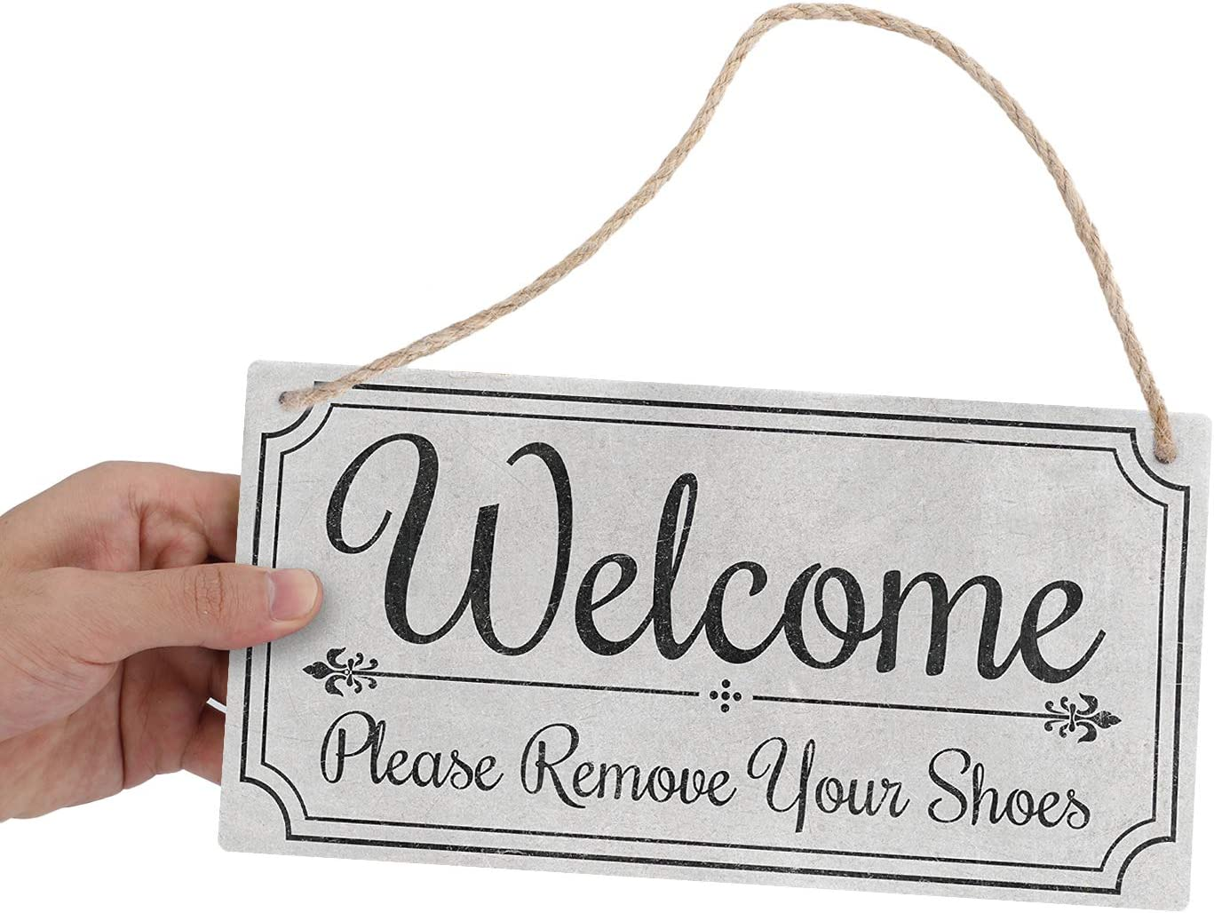 Goutoports welcome sign for front door Hanging Sign Wall Decor- Please Remove Your Shoes 10x5 Inch