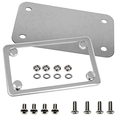 LFPartS Motorcycle Stainless Steel License Plate Frame + Motorcycle License Backing Plate Set: Automotive