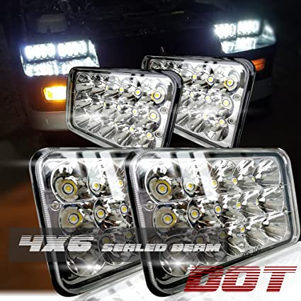 Amazon.com: Dot Approved 4X6 Inch Sealed Beam Led Headlights ... on wiring diagram for capacitor, wiring diagram for fan motor, wiring diagram for gas valve,