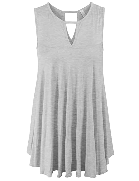 6afd23a1affbdb KOGMO Womens Sleeveless Tunic Tank Top With Key Holes -S-Heather Gray at  Amazon Women s Clothing store