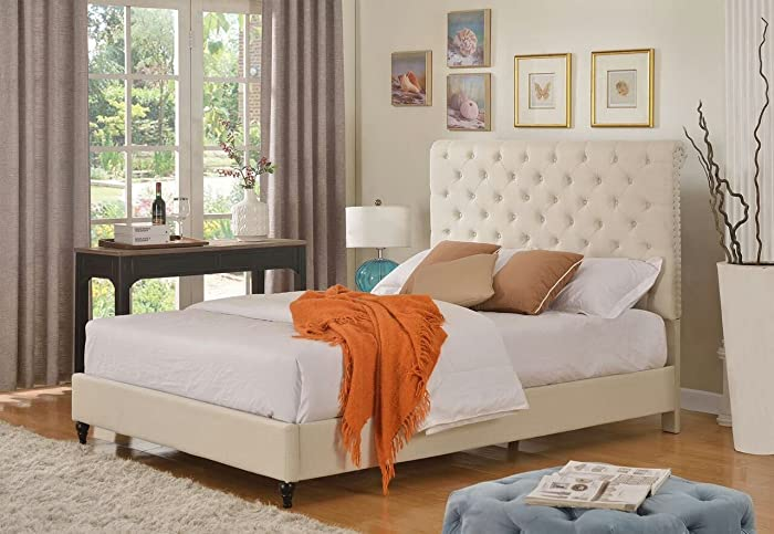 "Home Life Cloth Light Beige Cream Linen 51"" Tall Headboard Platform Bed with Slats King - Complete Bed 5 Year Warranty Included 008"