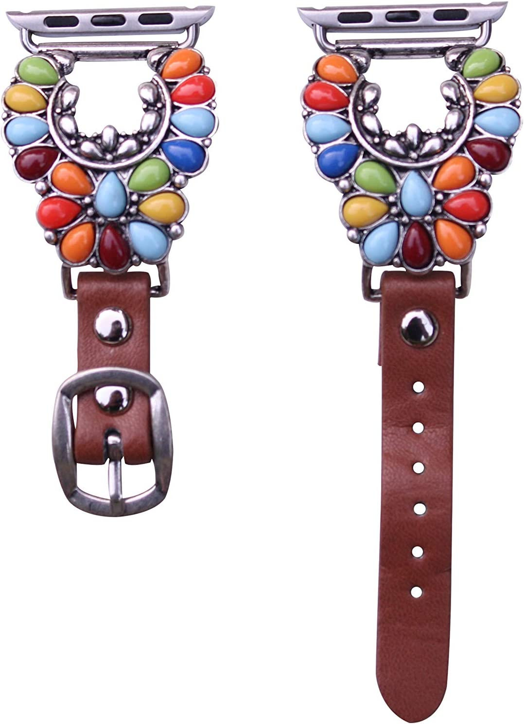 40mm/38mm Compatible for Apple Watch, Delicate Western Multicolored Fanwise Flower Watch Band No. 25M