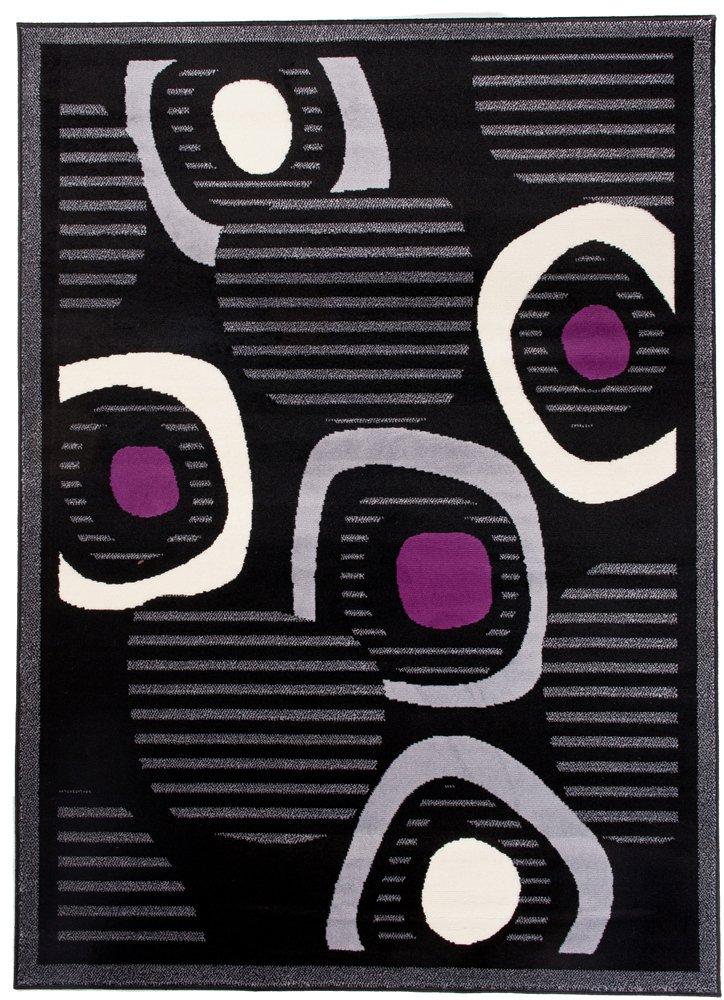 Tapiso Scarlet Teppich Kurzflor Modern Teppiche mit Designer Linien Kreise Muster in Schwarz Mehrfarbig Ideal für Wohnzimmer, Schlafzimmer ÖKOTEX 300 x 400 cm