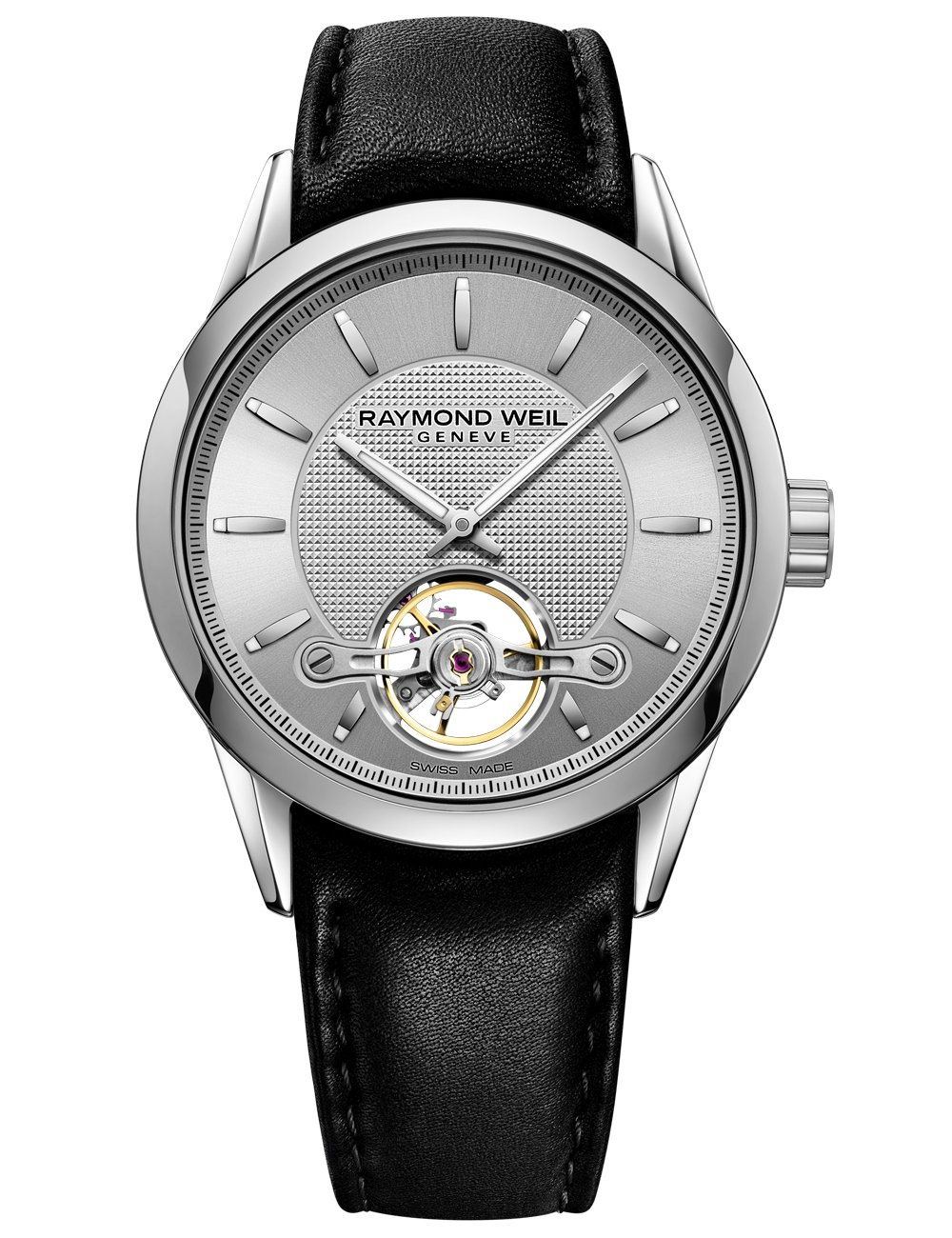Raymond Weil 'Freelancer' Swiss Automatic Stainless Steel And Leather Casual Watch, Color:Black (Model: 2780-STC-65001)