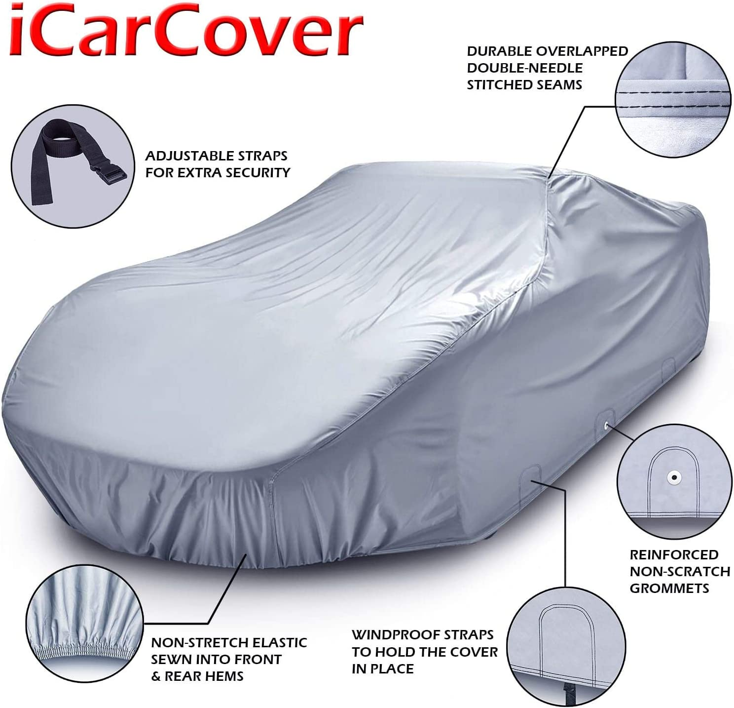 iCarCover for Cars Up to 204 All-Weather Waterproof Snow UV Heat Protection Dust Scratch Resistant Windproof Weatherproof Breathable Automobile Indoor Outdoor Auto Car Cover 7-Year Full Warranty