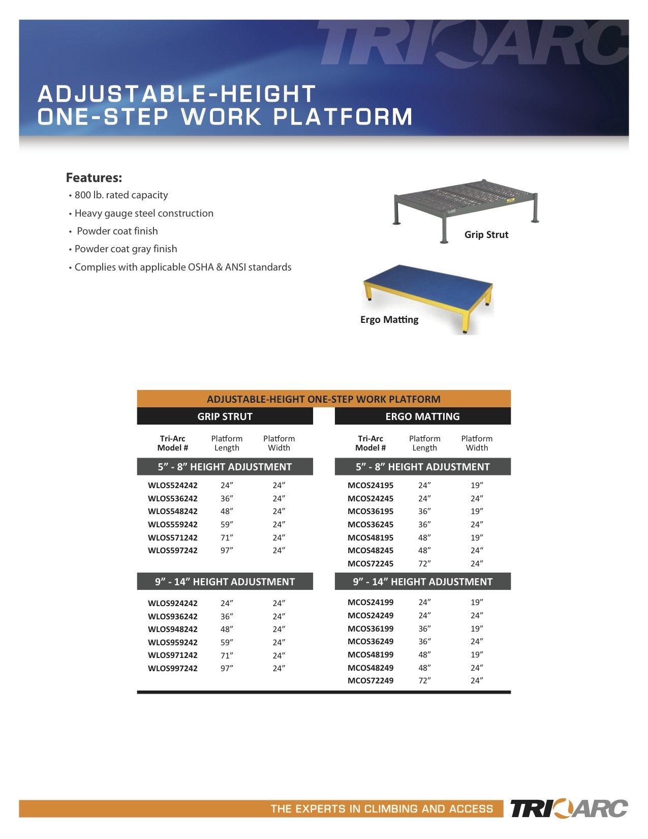 Tri-Arc WLOS936242 9-Inch to 14-Inch Adjustable-Height One Step Steel Work Platform with Grip Strut, 24-Inch Wide x 36-Inch Long