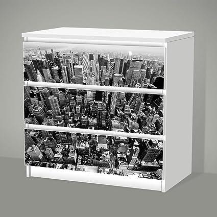 Stickers Autocollants Pour Ikea Malm 3 Tiroirs New York Film
