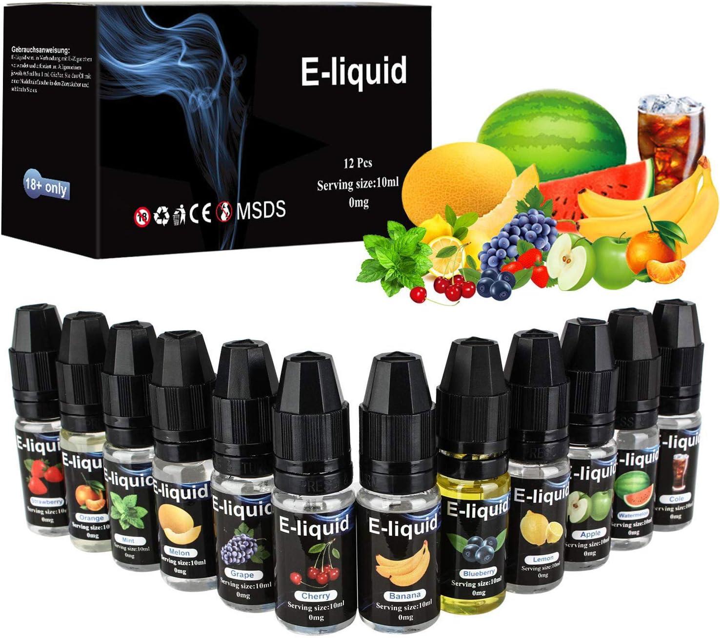 E Liquido, E Liquido Vaper Electronic Cigarette E-Liquido 50VG/50PG, E-Liquid sin Nicotina 12x10ml, E Liquid set para Cigarrillos Electronicos Fruta