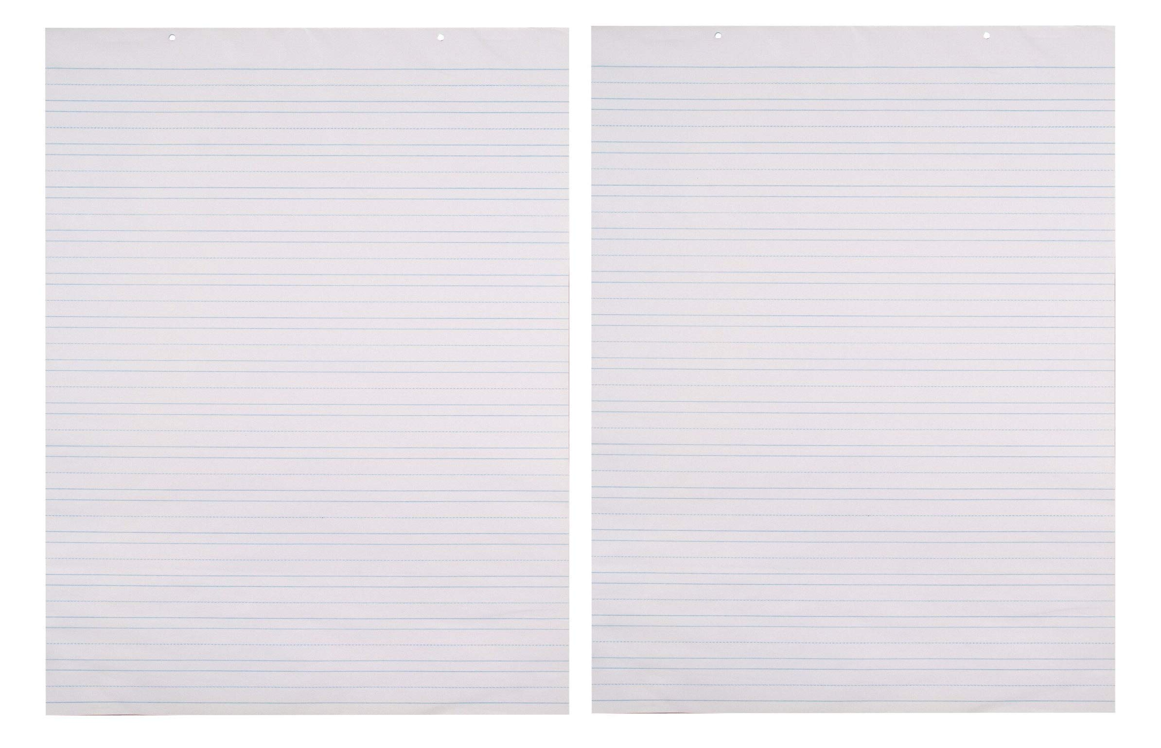 School Smart Primary Chart Paper, 24 x 32 Inches, Ruled 1-1/2 Inch with Dotted Midline, White, 70 Sheets (Тwo Рack)