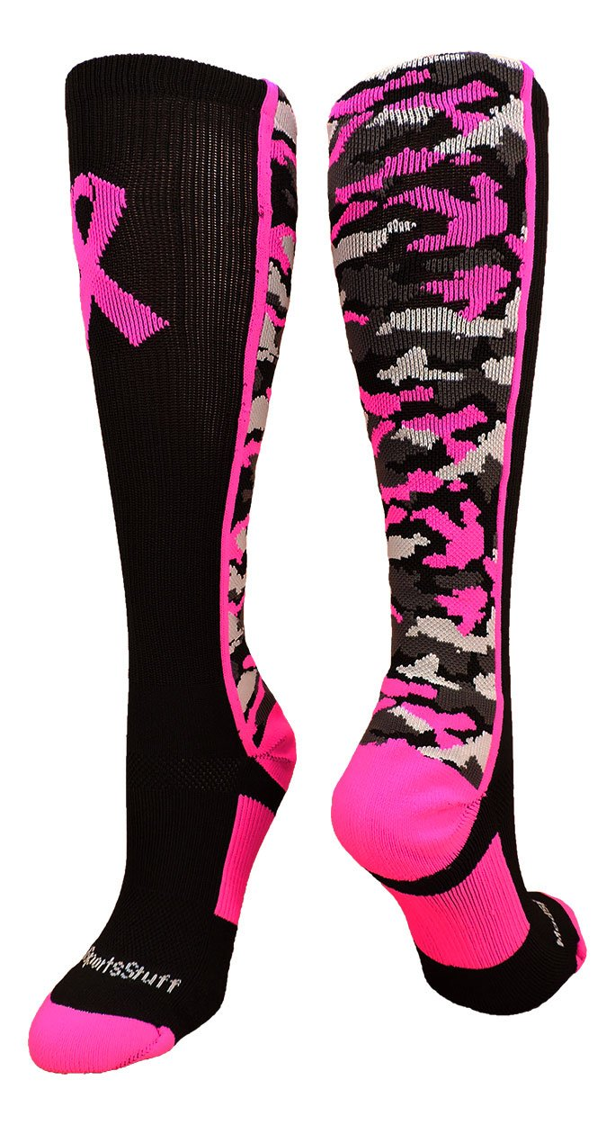MadSportsStuff Pink Ribbon Awareness Camo OTC Socks (Black/Neon Pink, X-Large)