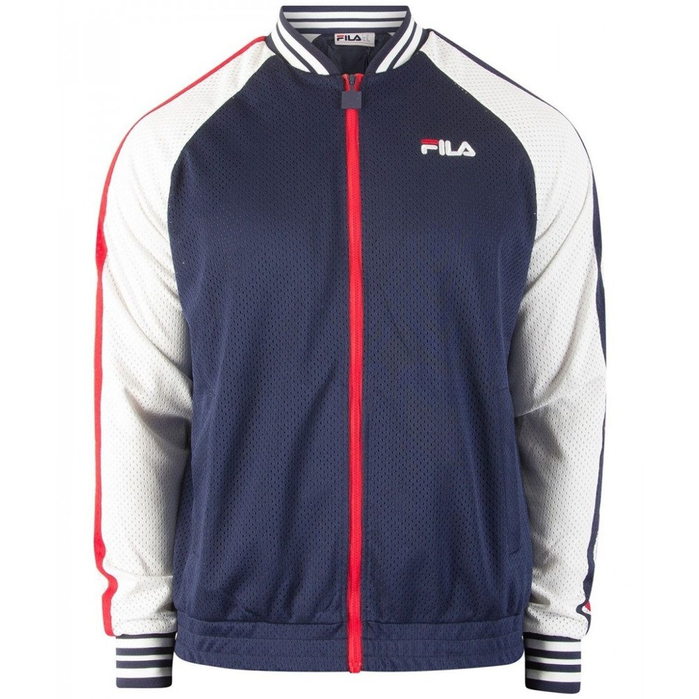 Fila Men's Lucas Jacket, Peacoat, White, Chinese Red, 2XL