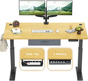 FEZIBO Electric Height Adjustable Standing Desk, 48 x 24 Inches, Black Frame/Natural Top